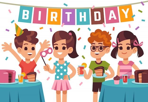 Przyjęcie urodzinowe dla dzieci. dzieci świętują rocznicę.