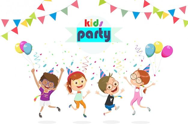 Przyjęcie urodzinowe dla dzieci ilustracja kreskówka