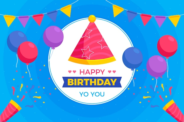 Przyjęcie urodzinowe kapelusz i balony tło