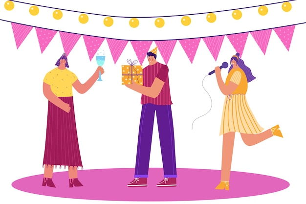 Przyjęcie urodzinowe. ludzie obchodzą urodziny.
