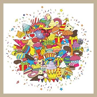 Przyjęcie urodzinowe ręcznie rysowane gryzmoły elementy tła.