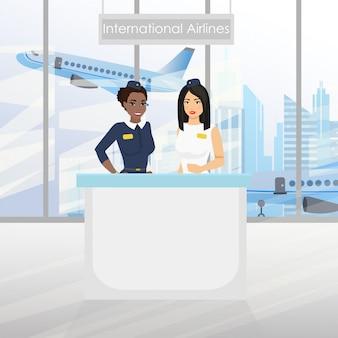 Przyjemna europejska stewardesa i stewardessa afroamerykanów przy biurku z lotniskiem. międzynarodowe linie lotnicze. ilustracja w płaskiej kreskówce.