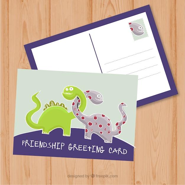 Przyjemny przyjaźń pocztówka z dinozaurami