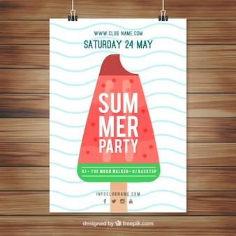 Przyjemny summer party plakat z płaskiej lodów