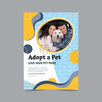 Przyjmij szablon pionowego plakatu dla zwierząt