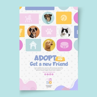 Przyjmij szablon plakatu zwierzaka