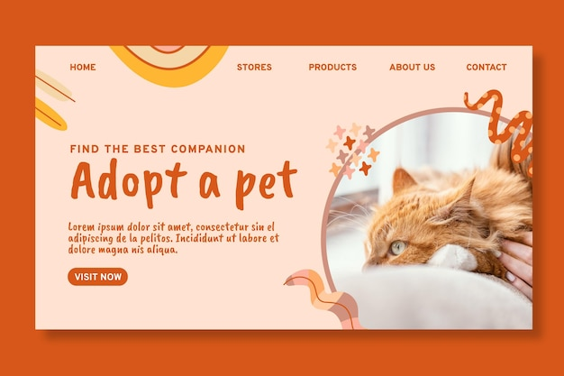 Przyjmij szablon strony docelowej zwierzaka pet