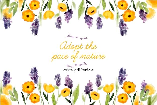 Przyjmij tempo natury. napis cytat z motywem kwiatowym i kwiatami