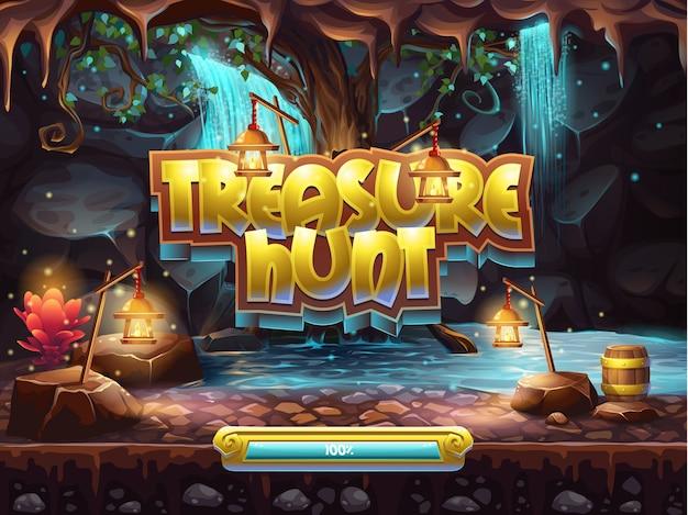 Przykład ekranu startowego do gry w poszukiwanie skarbów.
