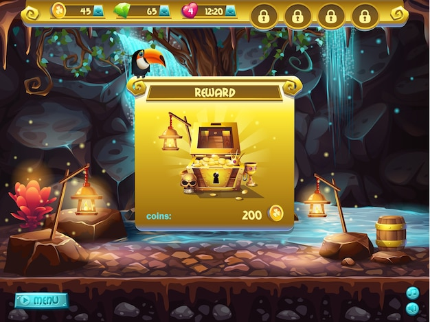 Przykład interfejsu użytkownika do poszukiwania skarbów w grze komputerowej. okno odbierające nagrodę.