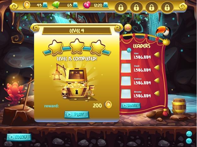 Przykład interfejsu użytkownika gry komputerowej, ukończenie poziomu okna