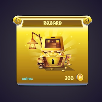 Przykład okna z nagrodami w grze komputerowej
