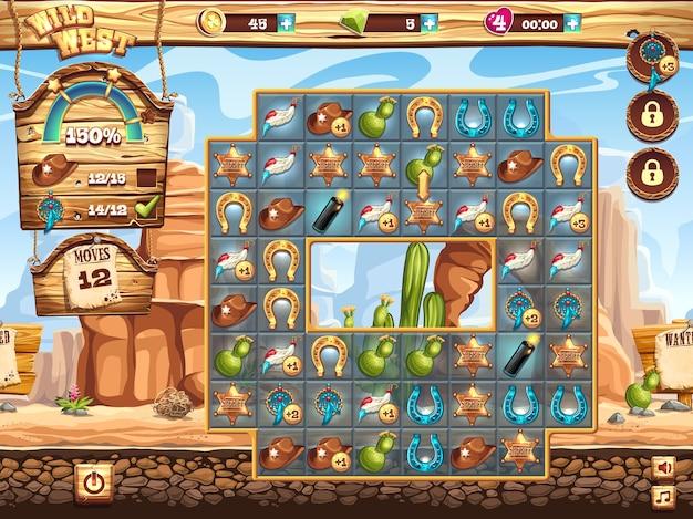 Przykład pola gry do gry z dzikim zachodem trzy z rzędu
