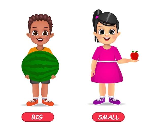 Przykład przeciwstawnych przymiotników dla dzieci. na białym tle