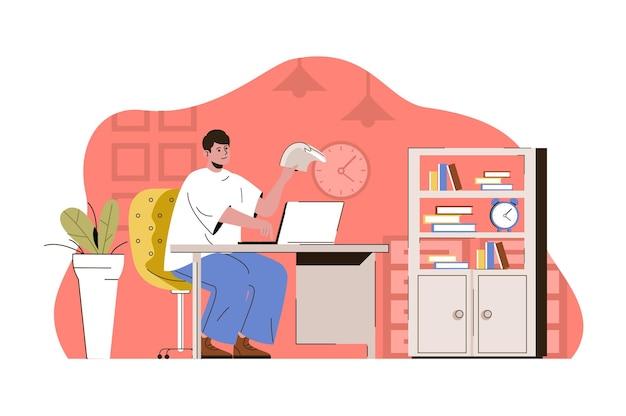 Przykładowa koncepcja zarządzania pracownik pracujący na laptopie w biurze