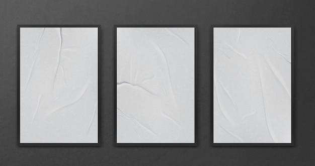 Przyklejony mocno pomarszczony zmięty szablon arkusza papieru zestaw makiety białe tło plakat realistyczne ilustracji wektorowych