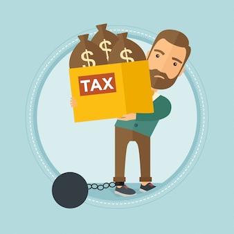 Przykuty biznesmen noszenie torby pełne podatków.