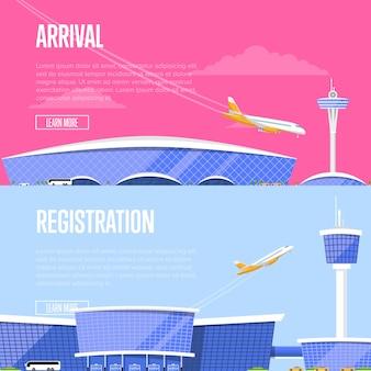 Przylot samolotu i ulotki rejestracyjne na lotnisko
