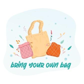 Przynieś własną koncepcję torby. torba materiałowa jako element stylu życia