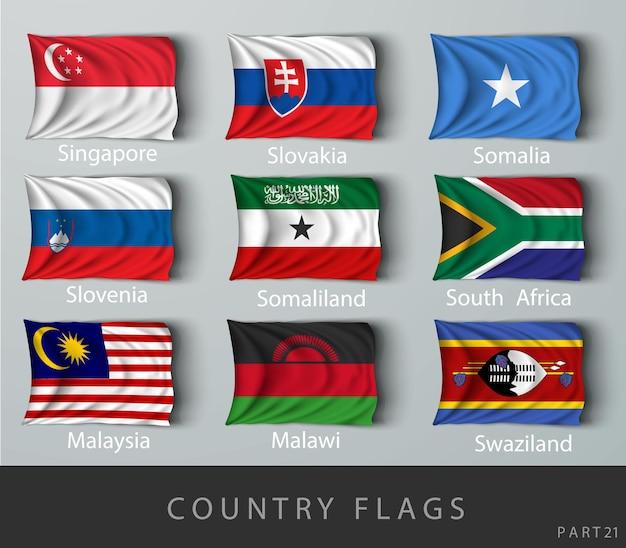 Przynitowana flaga kraju pomarszczona cieniami