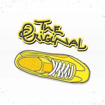 Przypadkowa ilustracja butów tenisowych z napisem oryginału