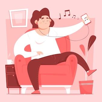 Przypadkowa kobieta relaksuje na kanapie i słucha muzyka