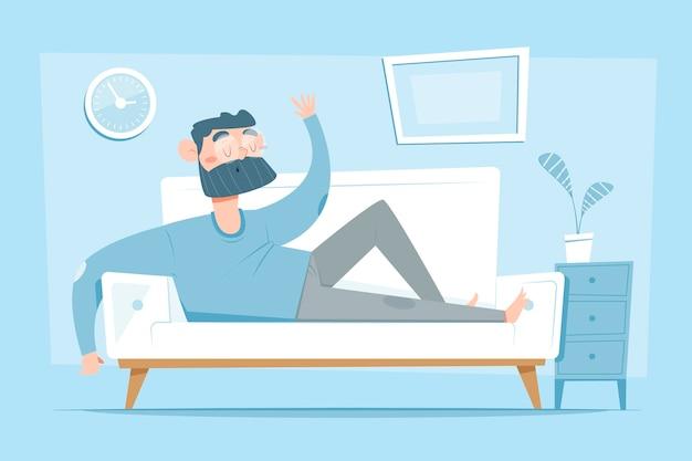 Przypadkowy mężczyzna relaksuje na kanapie boso