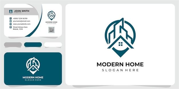Przypinanie lokalizacji budynku nowoczesnej koncepcji projektowania logo z projektem wizytówki