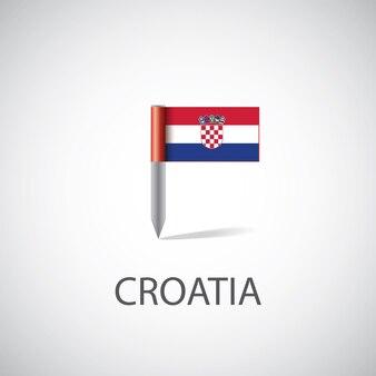 Przypinka flaga chorwacji na białym tle