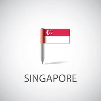 Przypinka flaga singapuru, na białym tle na jasnym tle