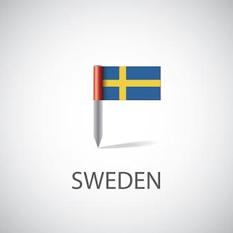 Przypinka flaga szwecji, na białym tle na jasnym tle