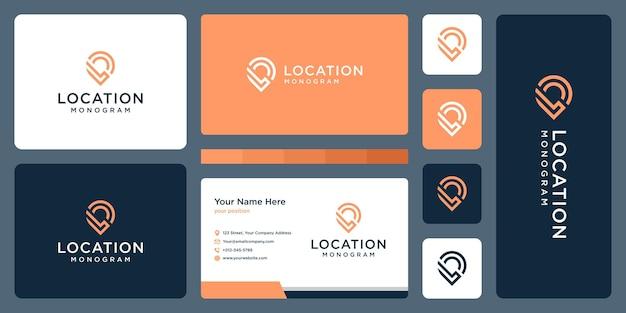 Przypinka logo, lokalizacja i początkowa litera l. projekt wizytówki.