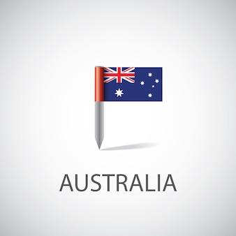 Przypinka z flagą australii na białym tle