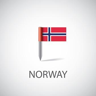 Przypinka z flagą norwegii, na białym tle na jasnym tle