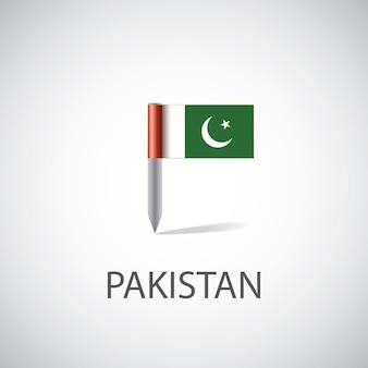 Przypinka z flagą pakistanu, na białym tle na jasnym tle