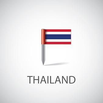 Przypinka z flagą tajlandii, na białym tle na jasnym tle