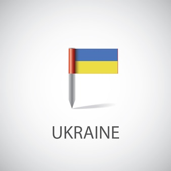 Przypinka z flagą ukrainy, na białym tle na jasnym tle