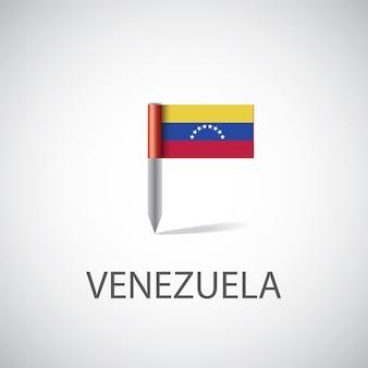 Przypinka z flagą wenezueli, na białym tle na jasnym tle