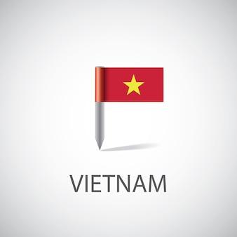Przypinka z flagą wietnamu, na białym tle na jasnym tle