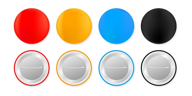 Przypinki. biały okrągły pusty przycisk. makieta odznaka magnes pamiątkowy. ilustracja.