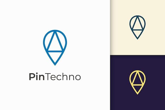 Przypnij logo lub znacznik w prostej linii i nowoczesnym kształcie przedstawia mapę lub pozycję