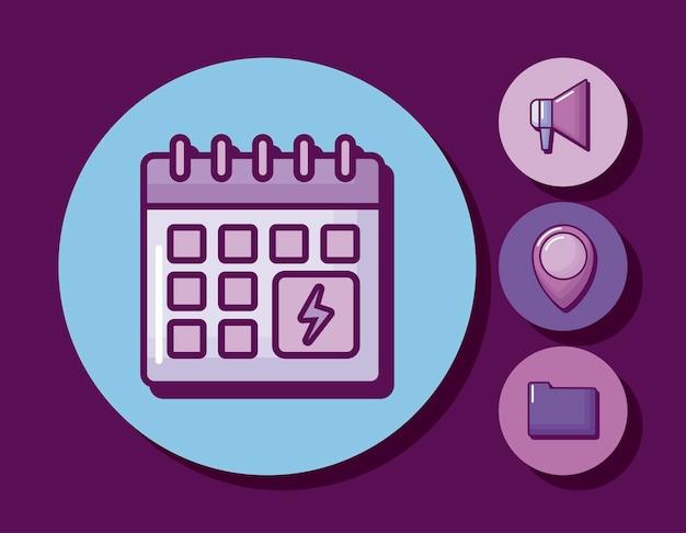 Przypomnienie kalendarza z ustawionymi ikonami