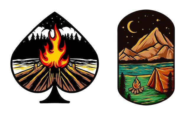 Przyroda campingowe ognisko