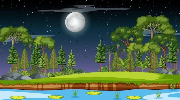 Przyroda las krajobraz w nocy scena z długą rzeką przepływającą przez łąkę