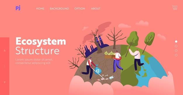 Przyroda, środowisko i ekologia szablon strony docelowej. postacie sadzenie sadzonek i drzew w ogrodzie, usuwanie śmieci. ratuj świat, zalesianie, odnowa. ilustracja wektorowa kreskówka ludzie