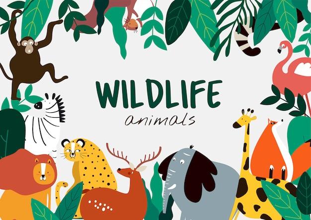 Przyrody zwierząt kreskówki stylu zwierząt szablon wektor