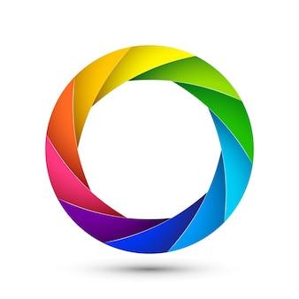 Przysłona ikony migawki aparatu fotograficznego. skupić wektor kolorowy obiektyw zoom cyfrowy projekt.