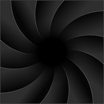 Przysłona tła fotografii migawki aparatu. skupić wektor czarny obiektyw zoom cyfrowy projekt.