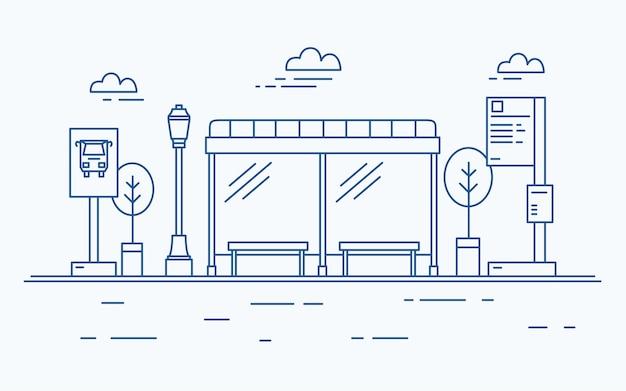 Przystanek autobusowy, latarnia uliczna, rozkład jazdy komunikacji miejskiej lub tablica informacyjna
