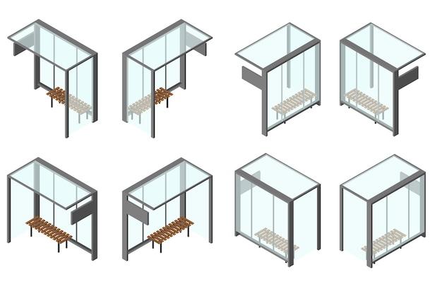 Przystanek autobusowy ze szkła izometrycznego. zestaw 8 kątów kamery z różnych stron. ławka do czekania. ilustracja wektorowa. na białym tle.